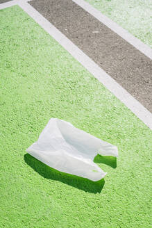 Plastic bag on green footpath during sunny day - PGF00049