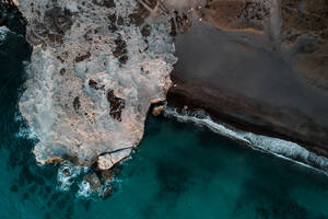 Spectacular aerial view of calm sea with clear turquoise water and rocky coastline - ADSF15679