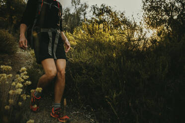 Woman walking on footpath at Sierra De Hornachuelos, Cordoba, Spain - DMGF00155