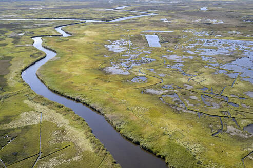 USA, Maryland, Drone view of marshes along Nanticoke River on Eastern Shore - BCDF00441