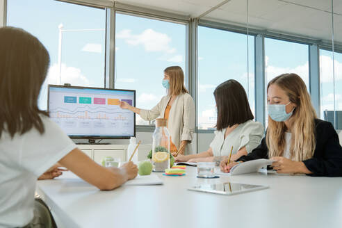 Young woman in protective mask making presentation on computer monitor with graphs during business meeting with coworkers in contemporary office space - ADSF16711