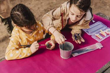 Sisters coloring pine cones at picnic table in park - ERRF04598