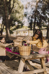 Girl collecting pine cone in wicker baskets at picnic table - ERRF04631