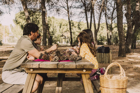 Mature man with daughters coloring pine cones at picnic table in park - ERRF04634