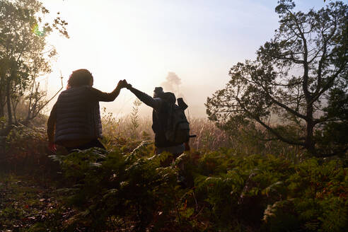 Silhouette young couple holding hands hiking in woods at dawn - CAIF30072