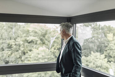 Businessman looking though window while standing at office - GUSF04514