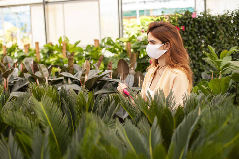Redhead businesswoman holding digital tablet while examining plant at garden center - LJF01857
