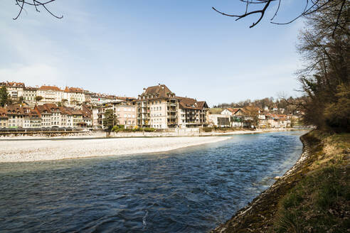 View of aare river by beautiful city in Switzerland - FLMF00340