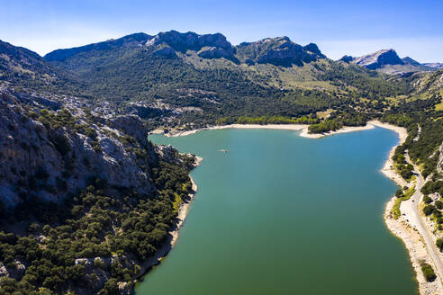 Spain, Balearic Islands, Helicopter view ofGorg Blau reservoir in summer - AMF08639