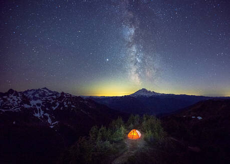 A tent is under the Milky Way on the top of a mountain, Washington, US - CAVF90239