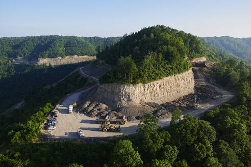 Aerial view of quarry in Appalachian forest - BCDF00554