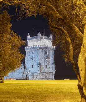 Portugal, Lisbon District, Lisbon, Panorama of Belem Tower at night - AHF00202