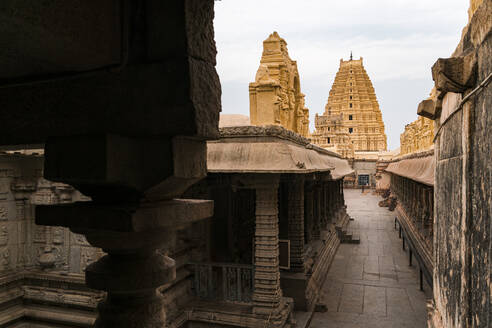 India, Karnataka, Hampi, Architecture of ancient Virupaksha Temple - JMPF00628