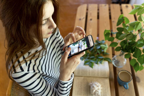 Young woman photographing coffee cup and book on table through mobile phone while sitting at home - AFVF07782