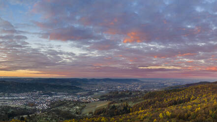 Germany, Baden-Wurttemberg, Drone view of Remstal valley at autumn dawn - STSF02717