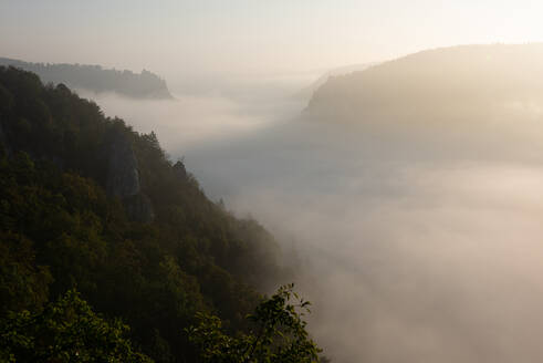 Danube Valley in Swabian Alb mountain during foggy weather at sunset, Germany - FDF00307