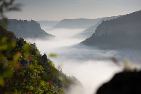 Scenic view of Danube valley covered with cloudscape at Beuron, Swabian Alb, Germany - FDF00327