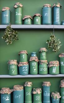 DIYgreen painted jars representing Advent Calendar - GISF00711