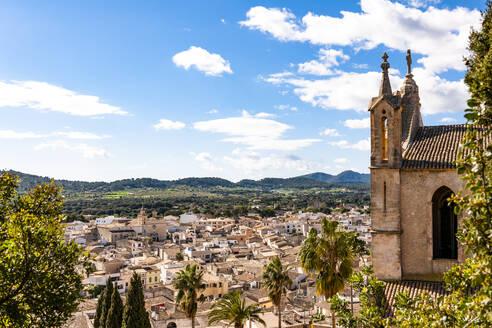 Spain, Mallorca, Arta, Old church overlooking town below - EGBF00583