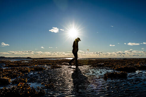Silhouette of senior woman walking by St. Lawrence River, Quebec, Canada - AWAF00007