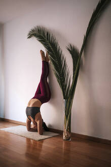 Young woman practicing headstand by wall at home - GRCF00597