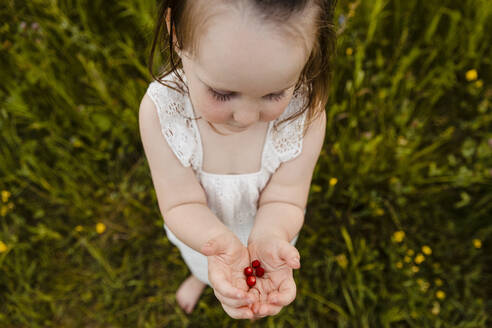 Cute baby girl holding bunch of freshly picked strawberries - AWAF00020