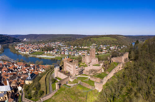 Germany, Baden-Wurttemberg, Wertheim am Main, Helicopter view of clear blue sky over Wertheim Castle and surrounding town in summer - AMF08931