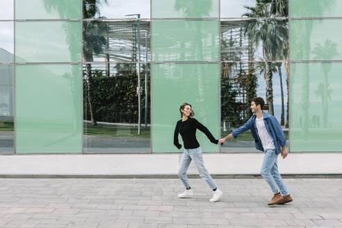 Barcelona, Catalonia, Spain - Lovely couple having fun in the city - XLGF01008