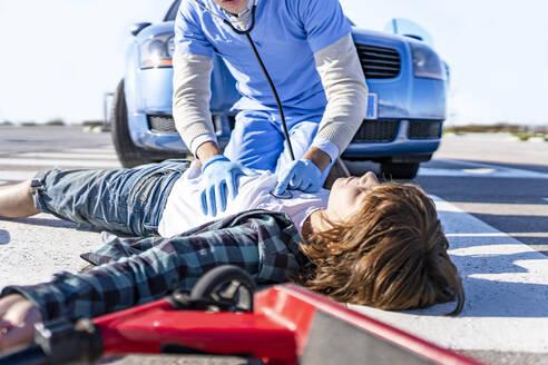 Madrid Spain. Child car accident - GGGF00856