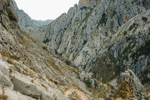Beautiful landscape scenery of mountain range at Cares Trail in Picos De Europe National Park, Asturias, Spain - DMGF00434