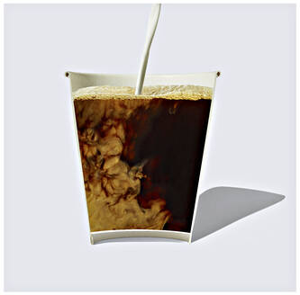 Cross section of milk mixing with coffee inside disposable cup - RAMF00105