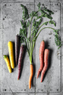Carrots lying on gray wooden surface - ASF06717