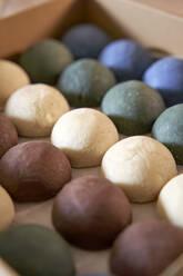 Detail of colorful handmade soaps. Badalona, Spain. - VEGF04002