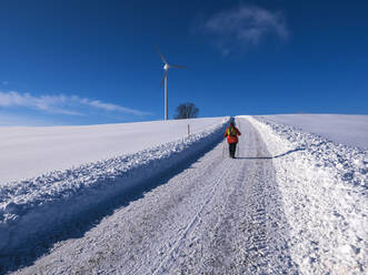 Germany, Black Forest, Freiamt, Person hiking on Schillinger Berg in winter - LAF02685