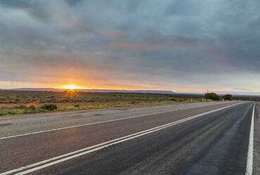 Australia, South Australia, Stuart Highway at sunset - FOF12101