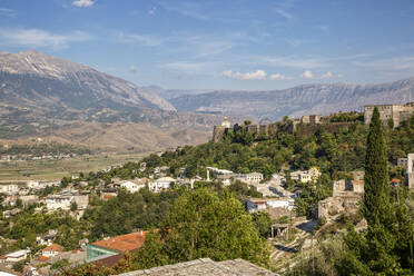 Town against blue sky at Mali I Gjere, Gjirokaster, Albania - MAMF01649