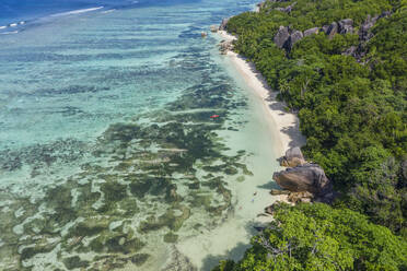 Aerial view of the famous sandy beach Anse Source d´Argent at La Digue Island. Anse Source d´Argent, La Digue, Seychelles, Indian Ocean, Indian Ocean Islands, Africa, Equator. - RUEF03196