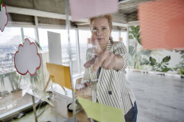 Businesswoman sticking adhesive notes on glass wall at office - FMKF07019