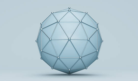 Blue sphere with grid background - JPSF00067
