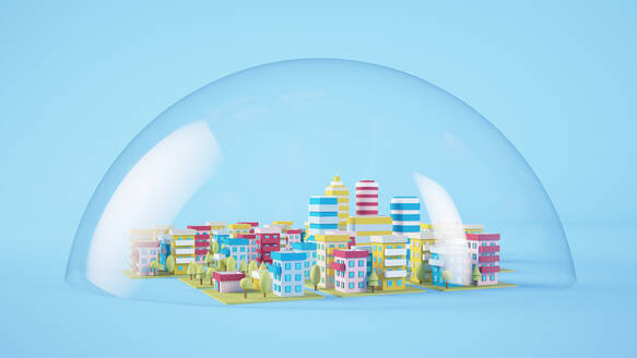 Cartoon city in a dome 3d rendering - JPSF00070